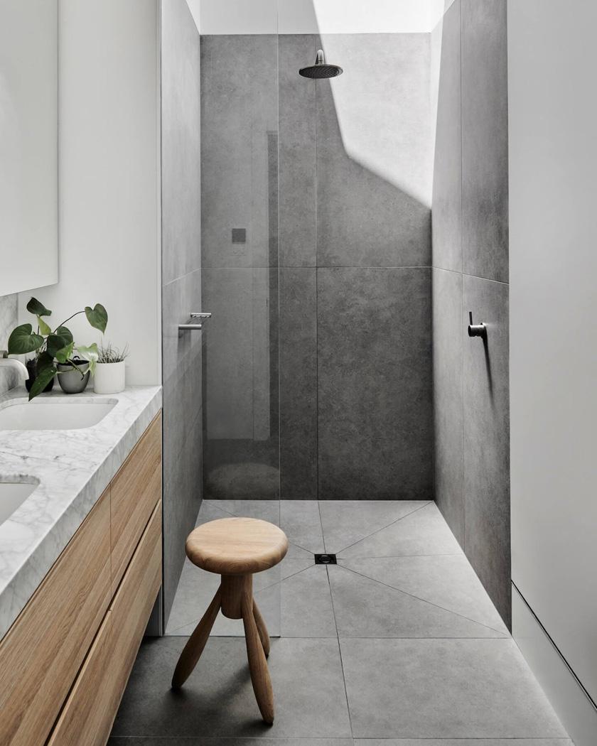 deco salle de bain moderne douche italienne gris
