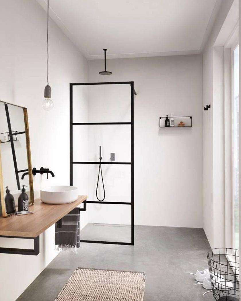 deco salle de bain moderne douche italienne industrielle