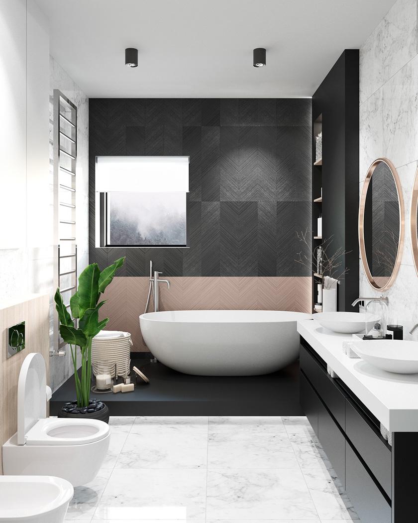 deco salle de bain moderne baignoire noir rose