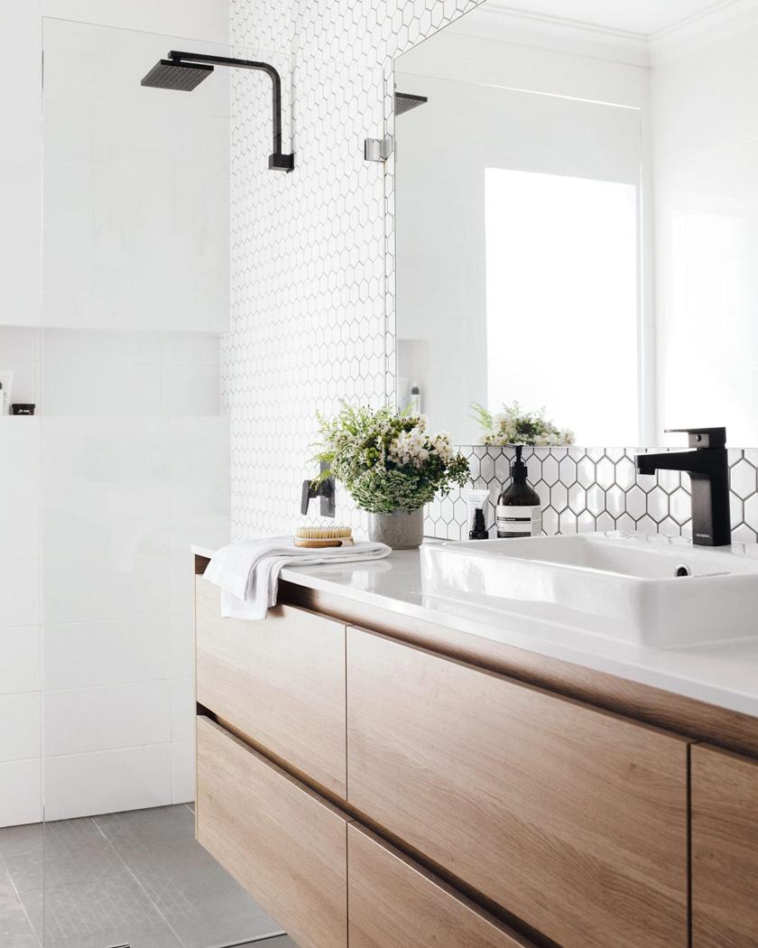 deco salle de bain moderne grande bois blanc
