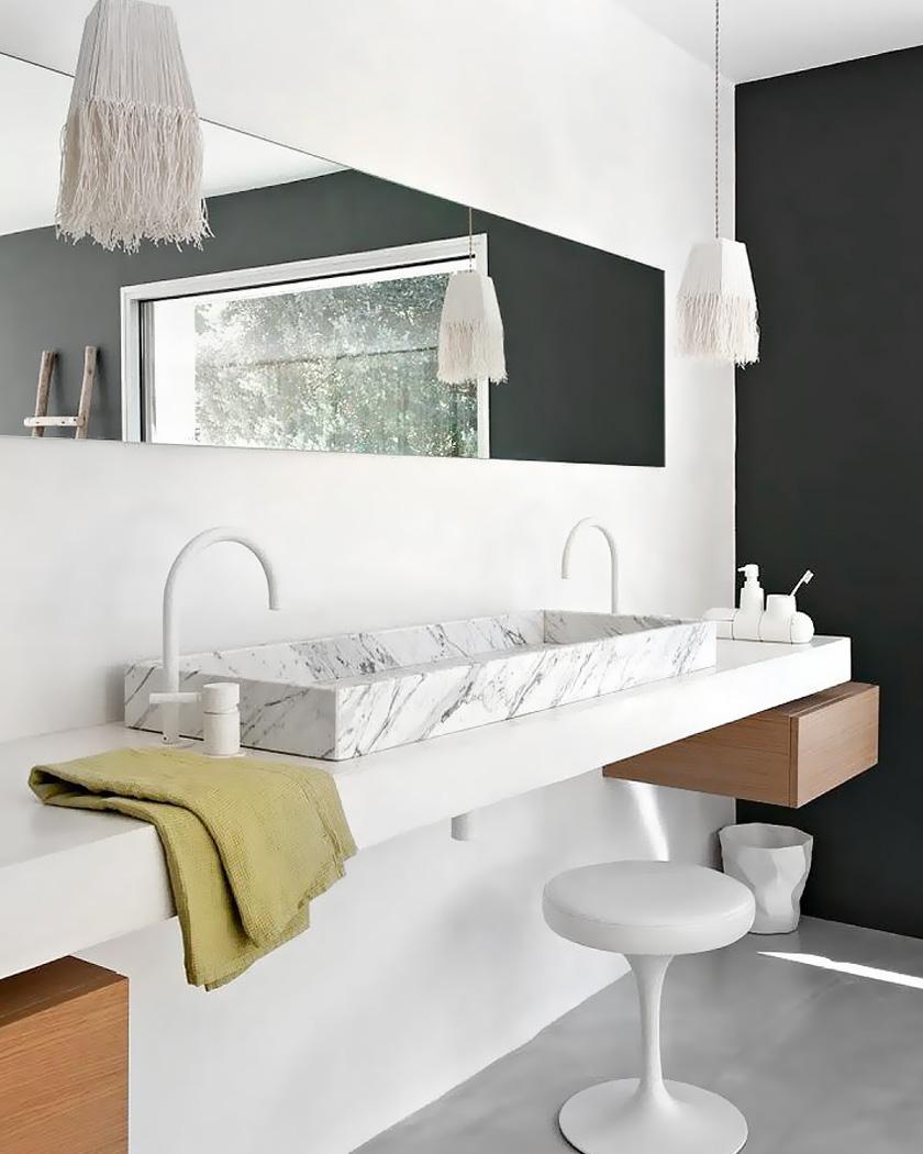 deco salle de bain moderne grande double vasque marbre blanc