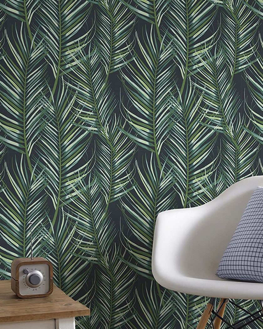 papier peint chambre tropical palmes