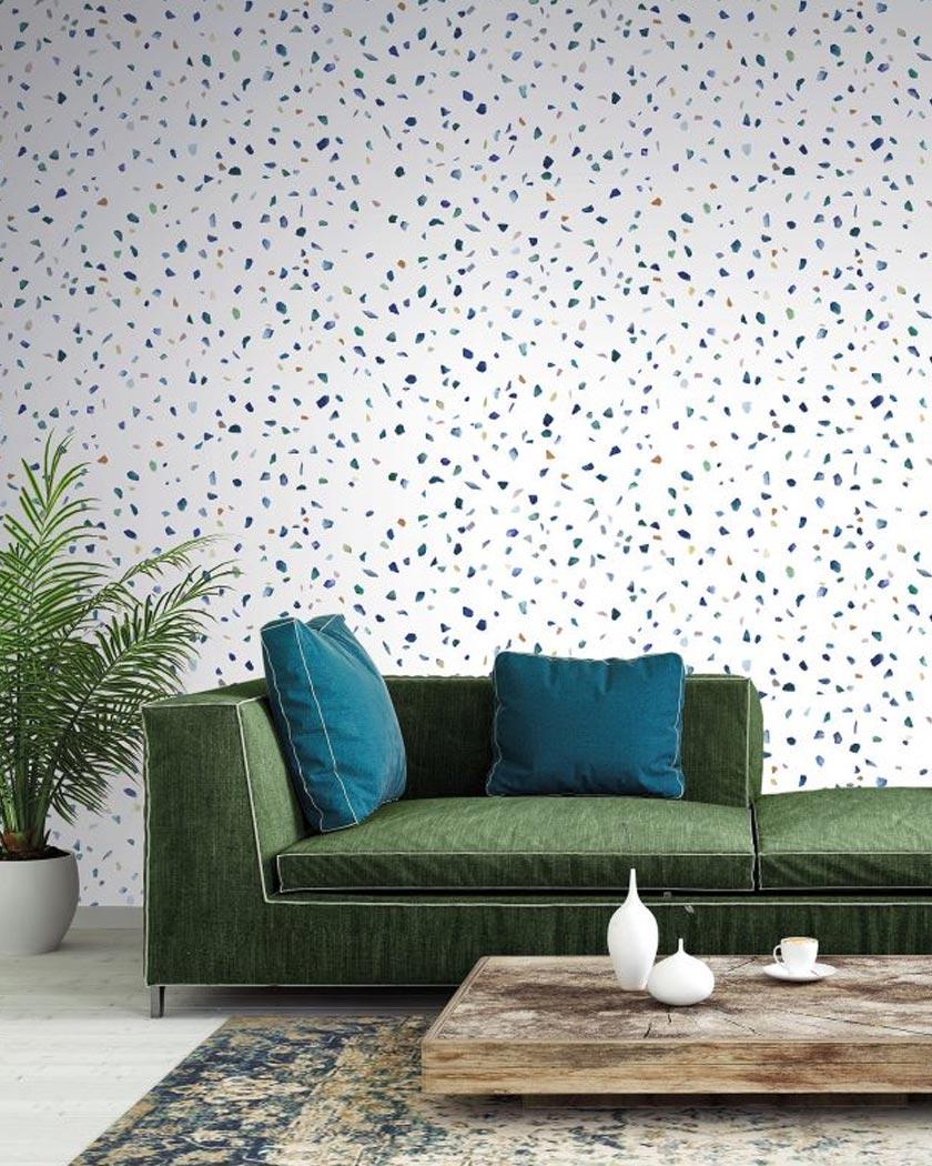 tapis persan deco vert salon mur terrazzo