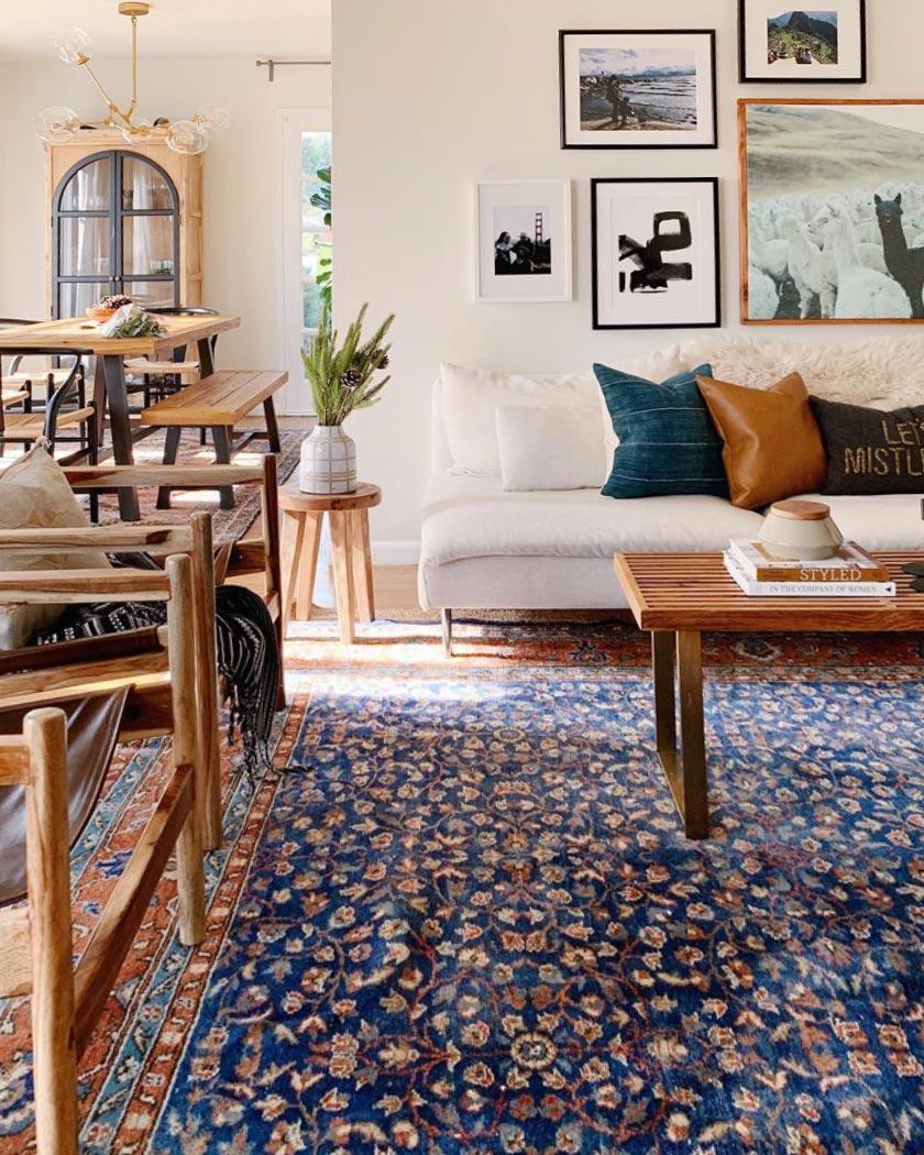 tapis persan deco salon bleu