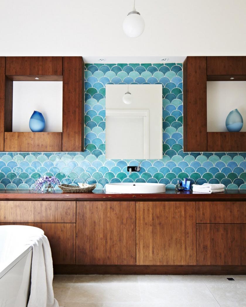 carrelage écaille salle de bain bleu