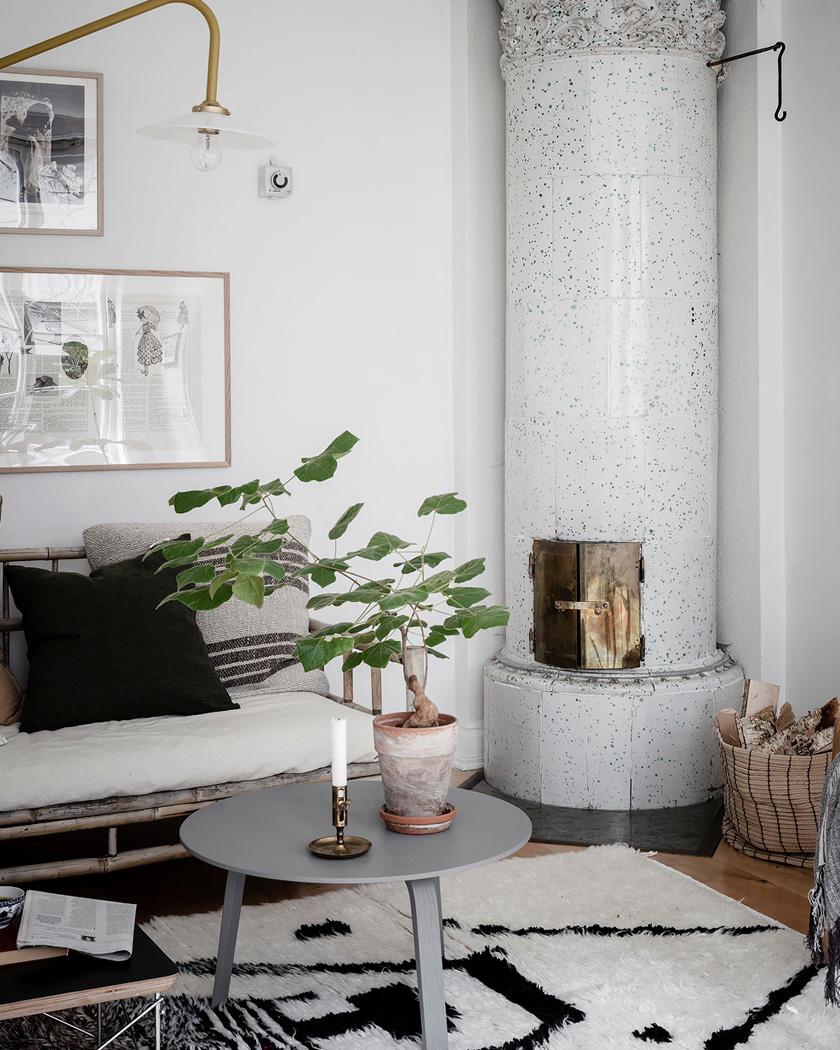 deco rustique moderne salon canapé bambou