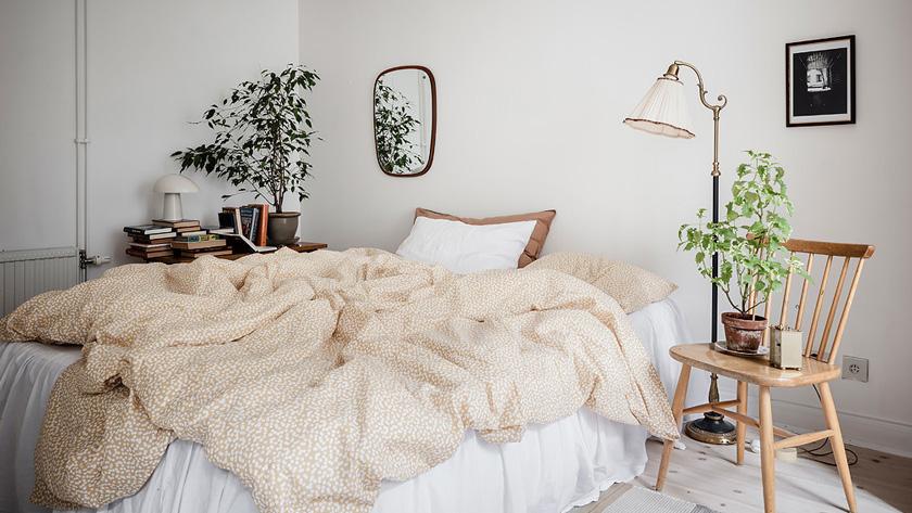 deco rustique moderne chambre lit jaune