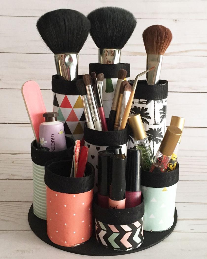 rangement maquillage diy tubes carton