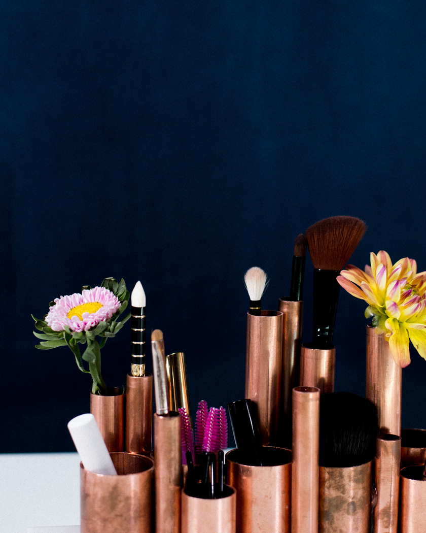 rangement maquillage diy tuyaux cuivre