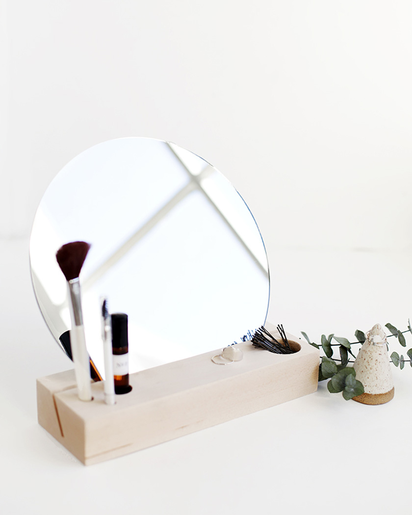 rangement maquillage diy bois miroir