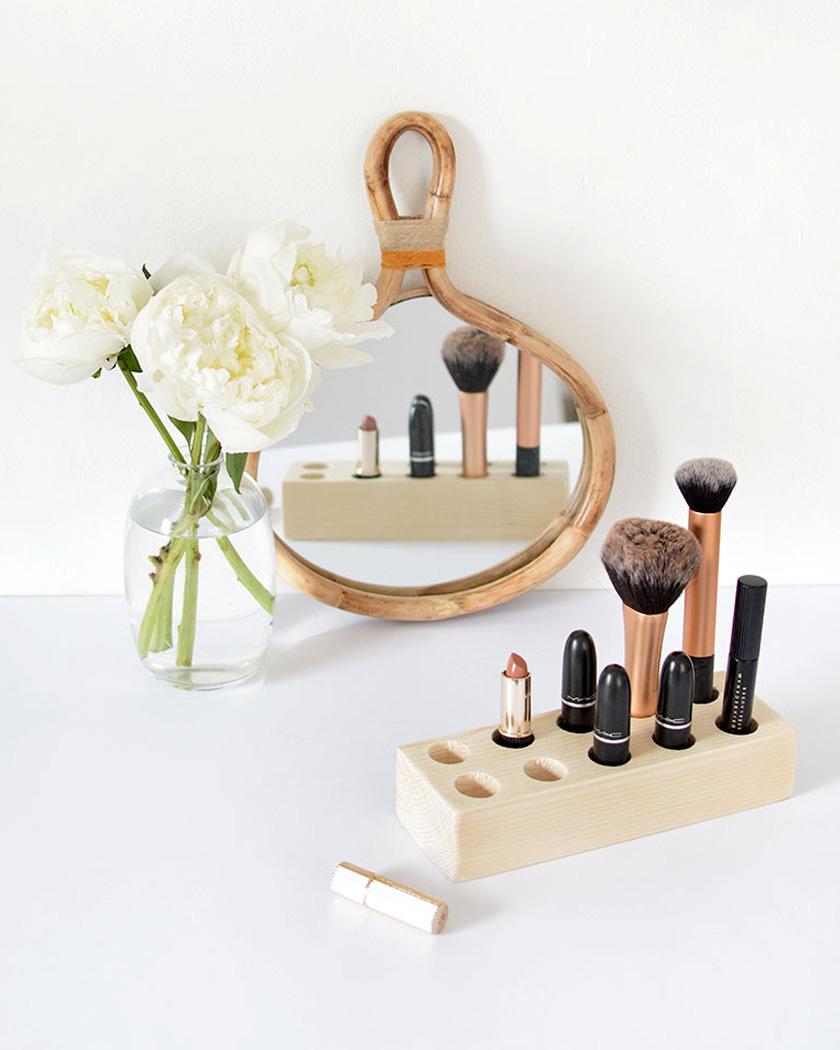 rangement maquillage diy bois brut