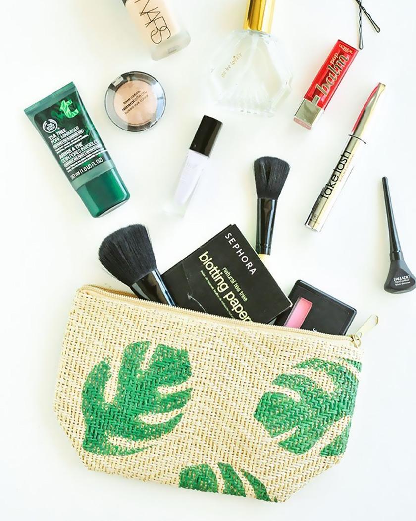 rangement maquillage diy pochette tropicale