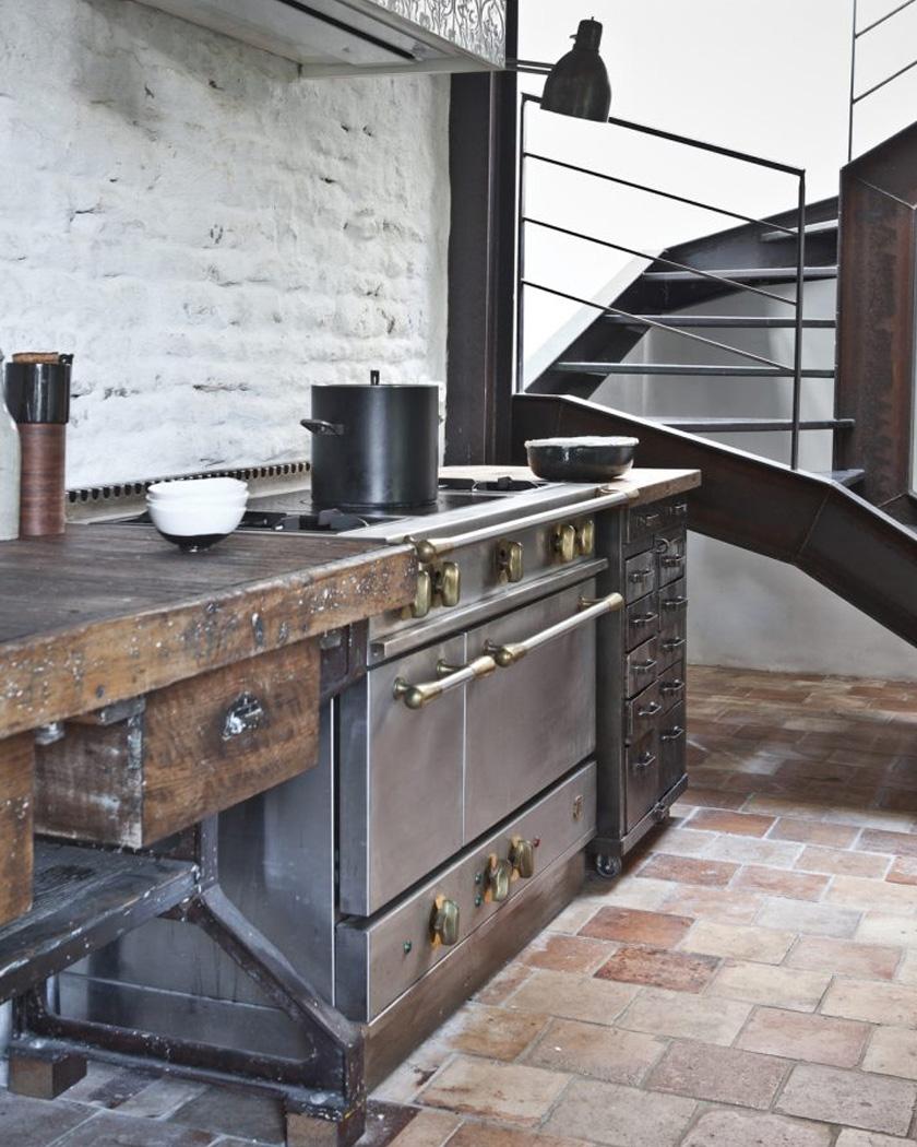deco sol terre cuite cuisine industrielle