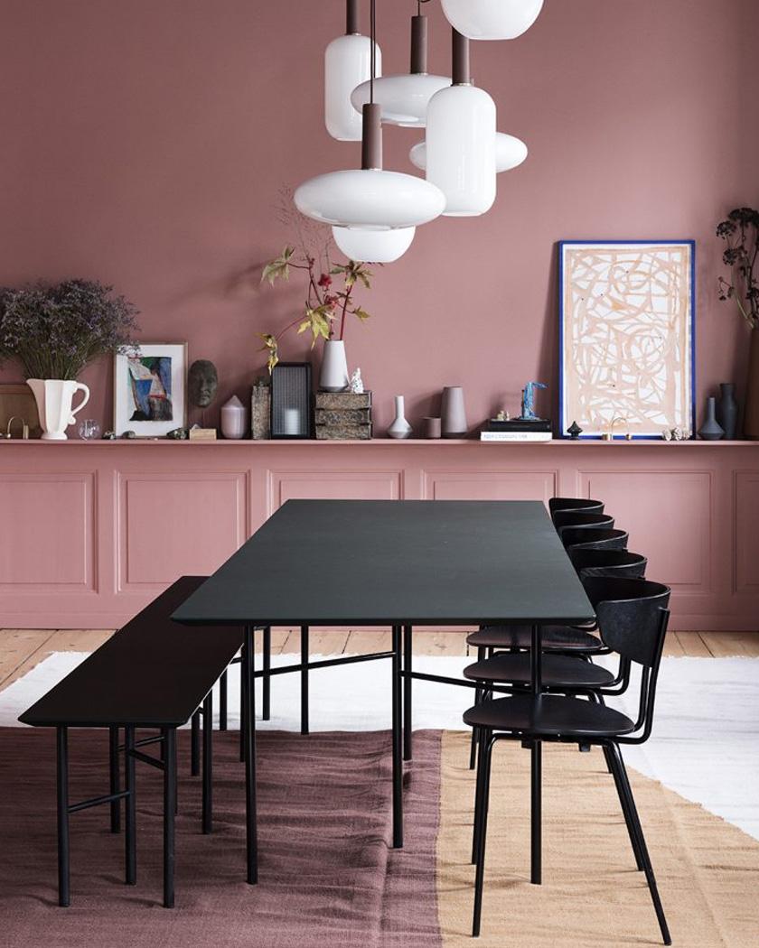 deco noir rose salle à manger