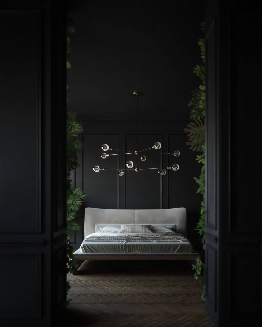 deco noir chambre lit gris plantes