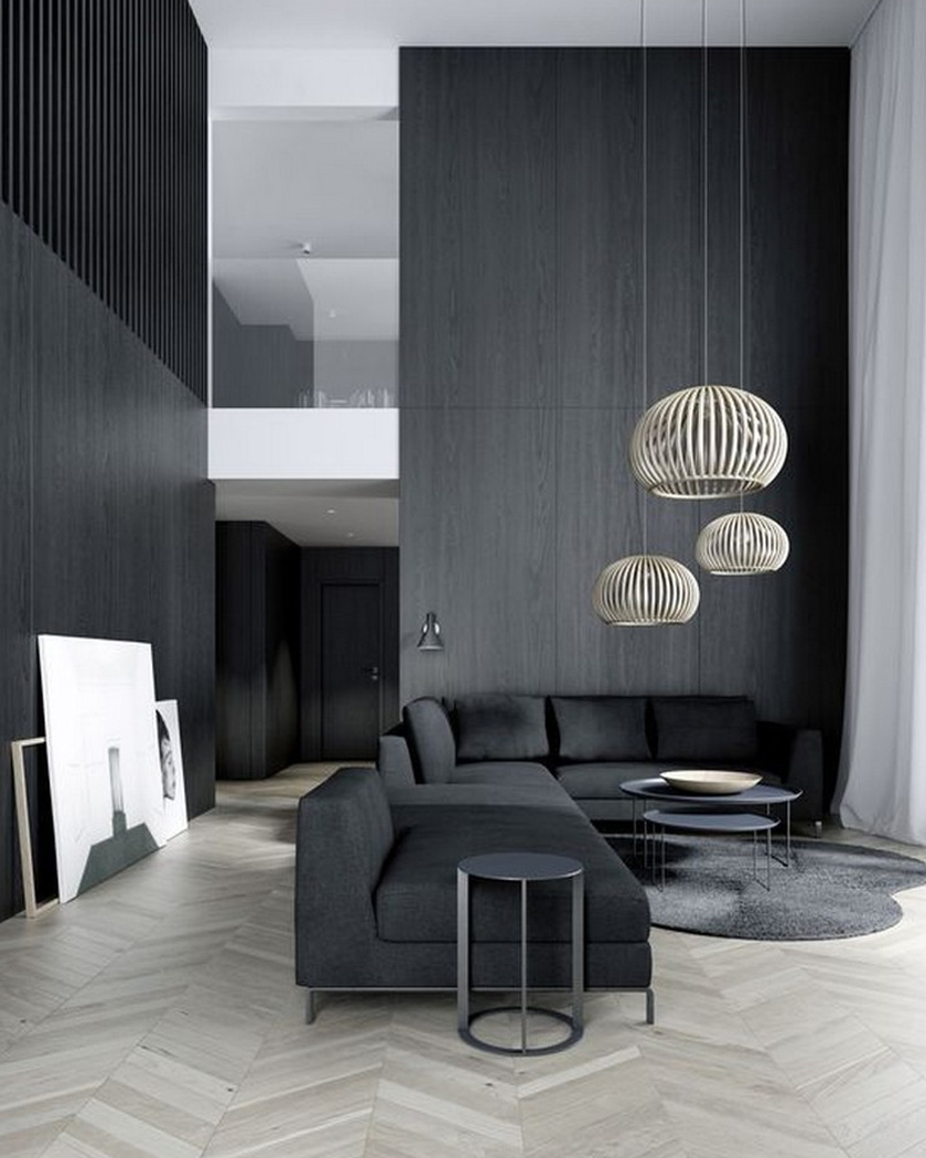 deco noir salon contemporain