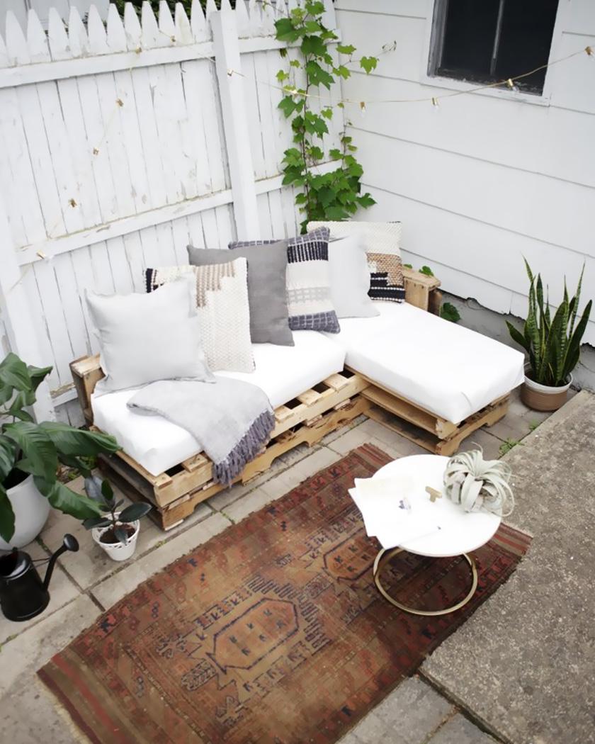 diy jardin ete canape palette