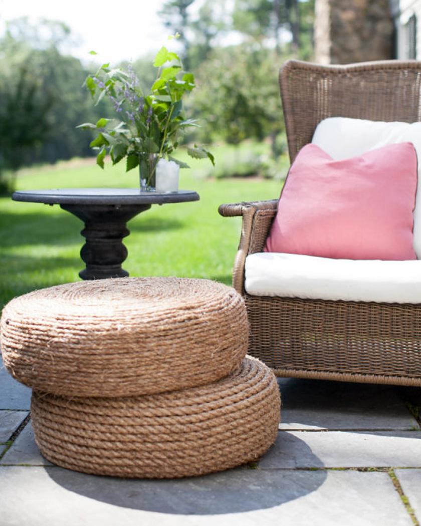 diy jardin ete table pneu corde