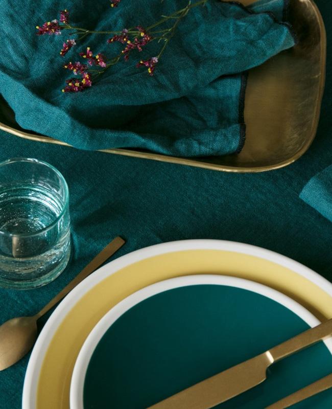linge lin cuisine serviette bleu canard
