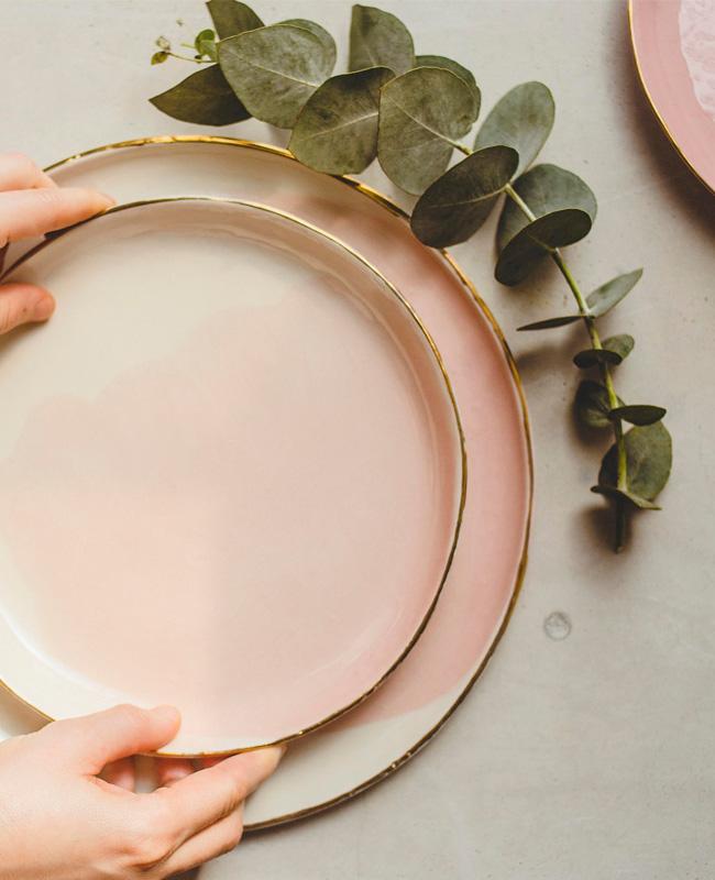 céramique etsy sind studio assiette rose or