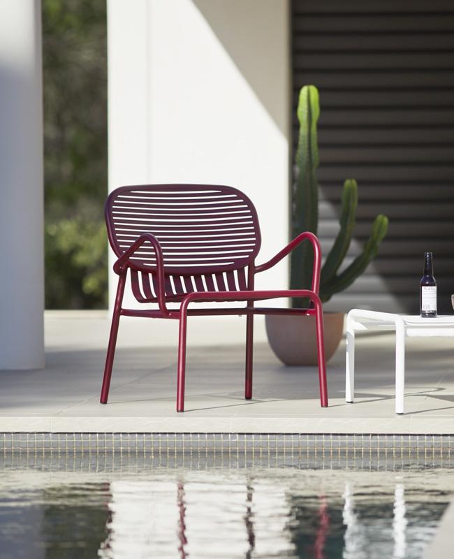 fauteuil jardin deco métal bordeaux