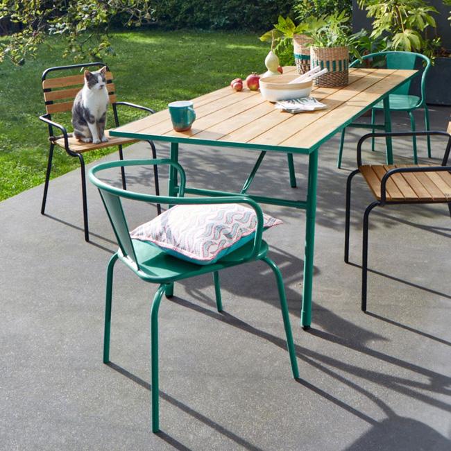 fauteuil jardin deco métal vert