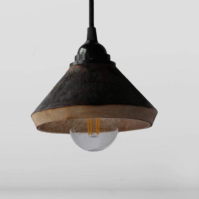 atelier des créateurs suspension bois brulé