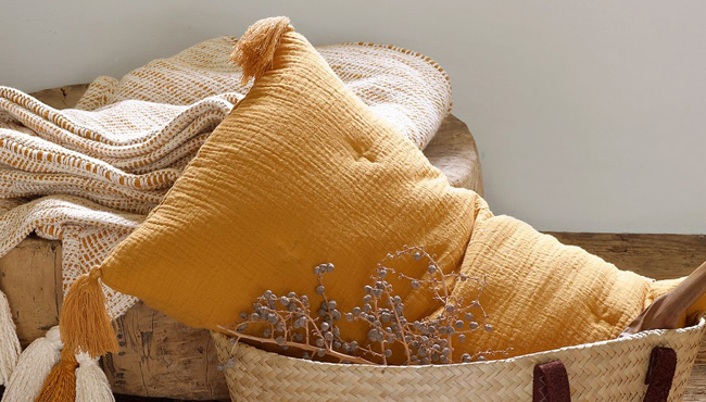 coussin jaune moutarde salon