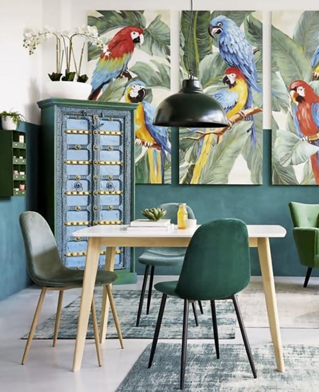 deco tropicale séjour salle à manger bleu canard motifs