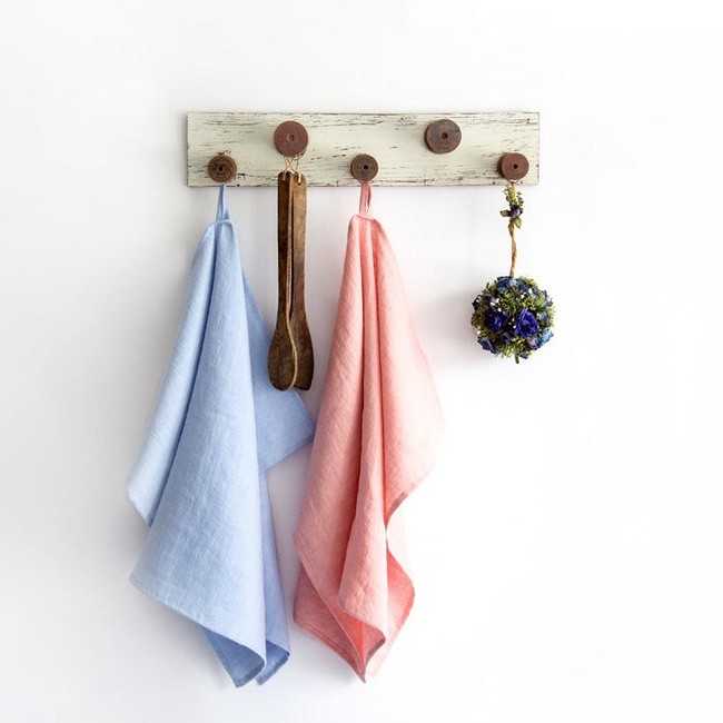 etsy cozy linen torchon rose bleu lin lavé