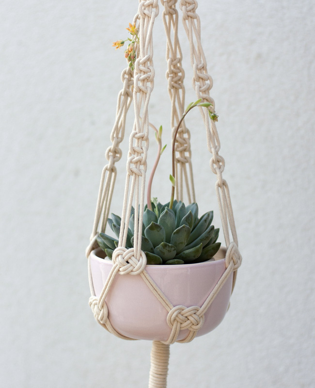 etsy happy flowers ceramics suspension plante macramé