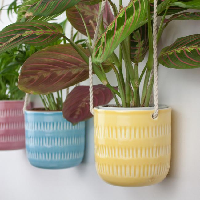 etsy happy flowers ceramics suspension plante suspension colorée