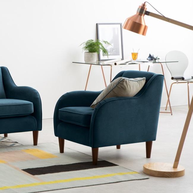 fauteuil deco bleu canard