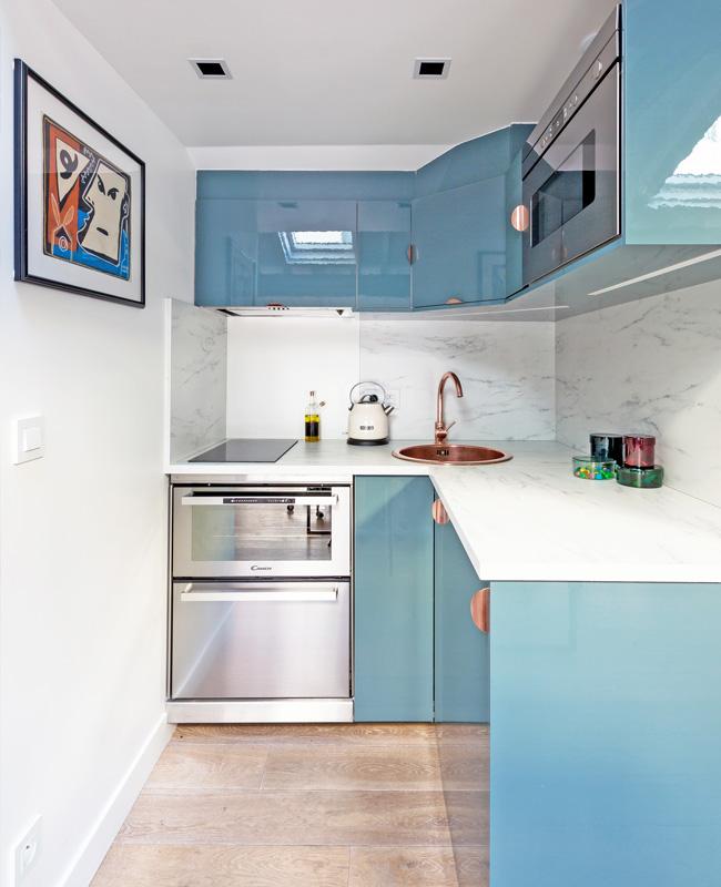 deco bureau professionnel moderne coloré neva cuisine bleu cuivre