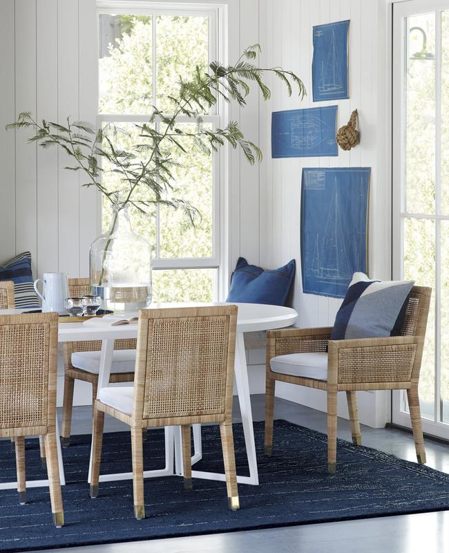 deco salle à manger bord de mer osier bleu