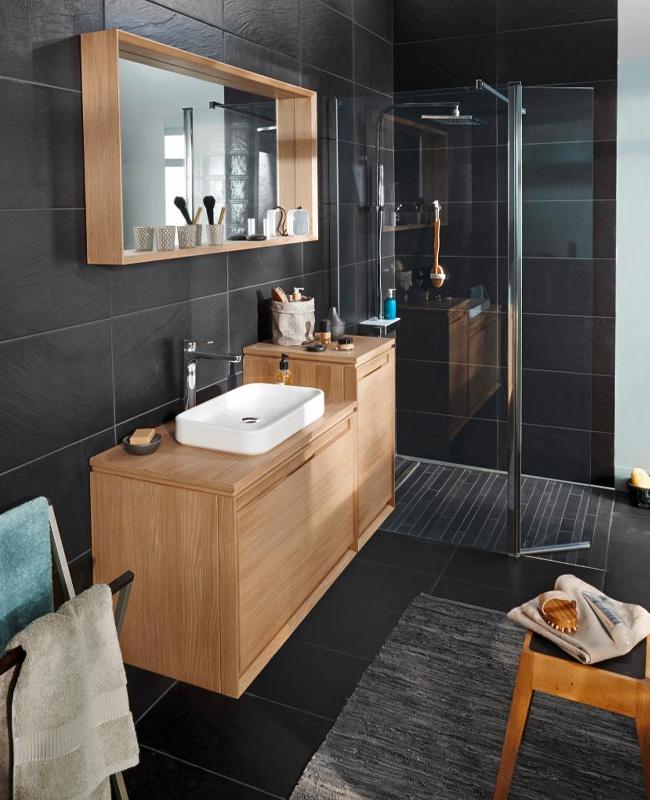 deco salle de bain minimaliste noir bois