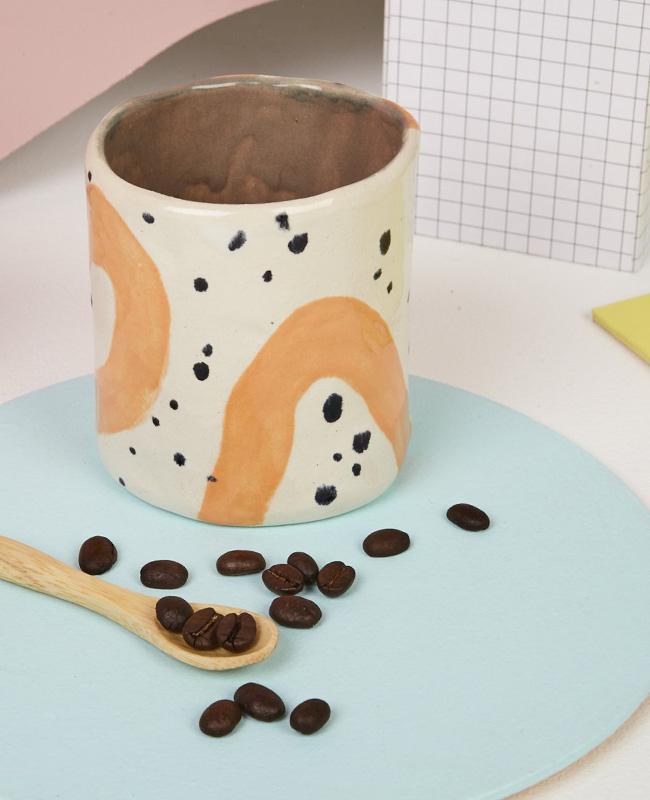 etsy céramique baked by lou tasse orange noir