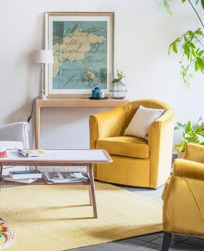 maison saulaie fauteuil velours gold
