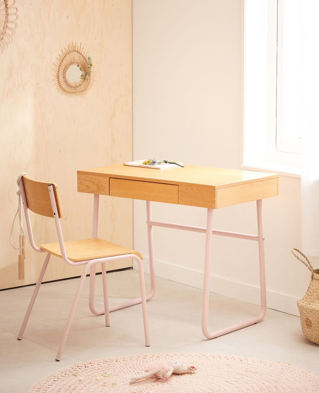meuble rose chambre enfant bureau vintage