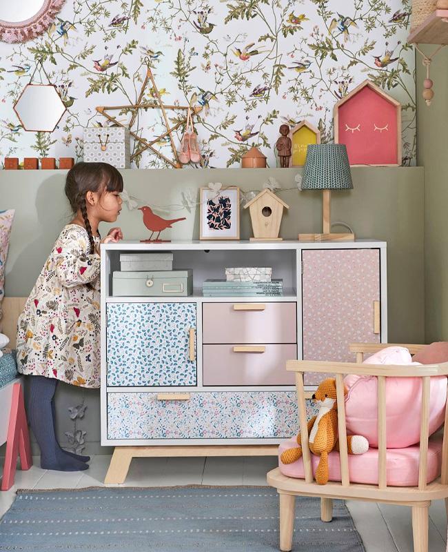meuble rose chambre enfant commode fleur