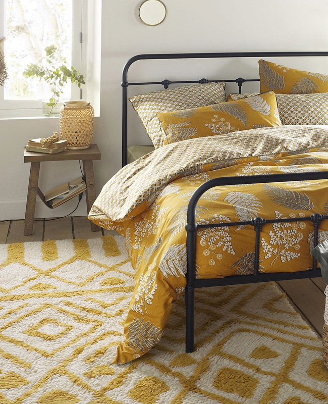 nouveau tapis berbère bohème jaune