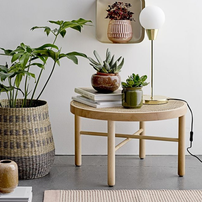 table basse cannage ronde bloomingville
