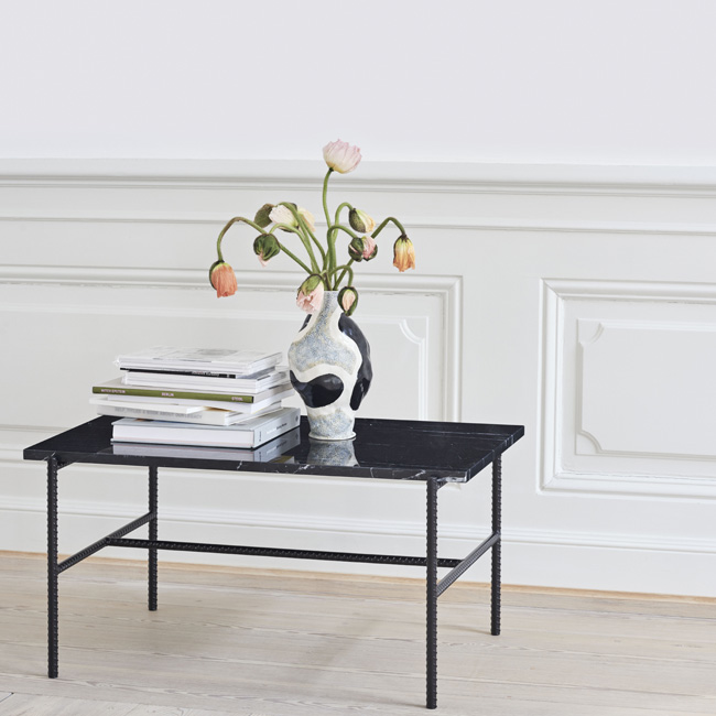 table basse marbre noir rectangulaire hay