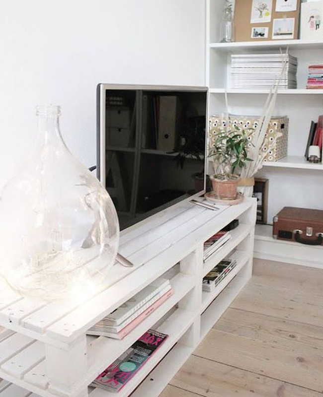 meuble tv palette diy blanc