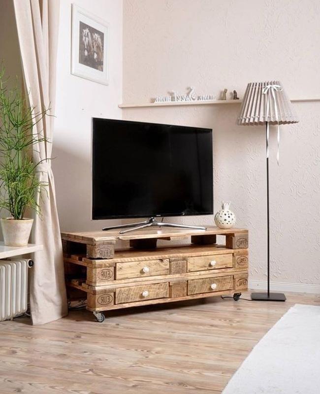 meuble tv palette diy bois tiroir
