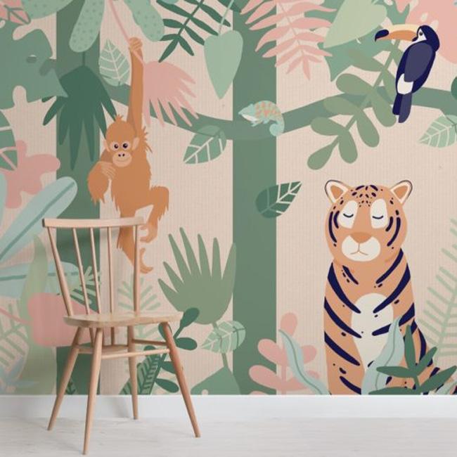 papier peint enfant urban jungle feuille animaux