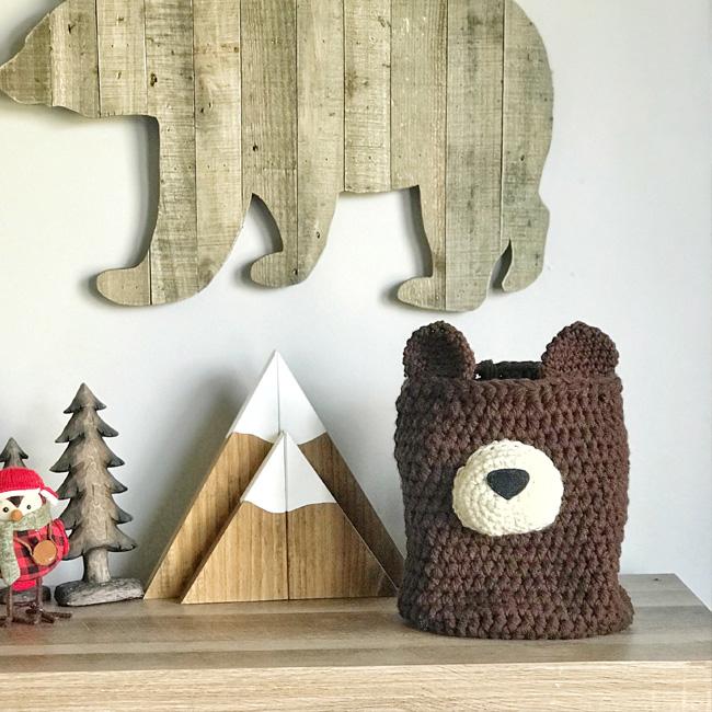 etsy clara loo accessoire déco enfant panier ours tricoté