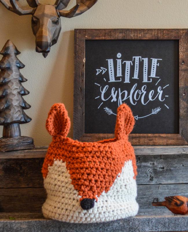 etsy clara loo accessoire déco enfant panier tricoté renard