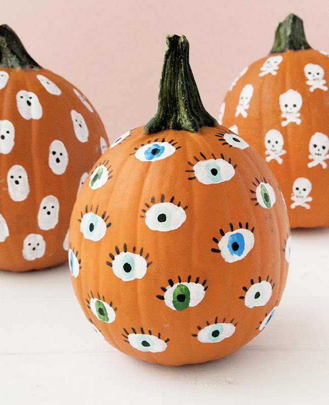 citrouille peinture Halloween diy yeux