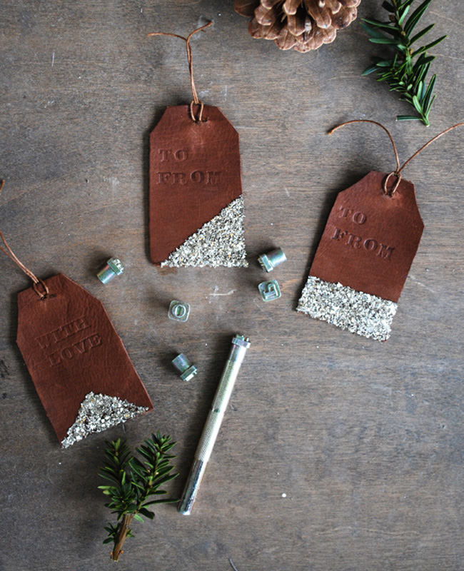 étiquette cuir paquet cadeau noel diy paillette
